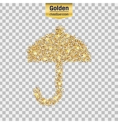 Gold glitter icon of umbrella isolated on vector