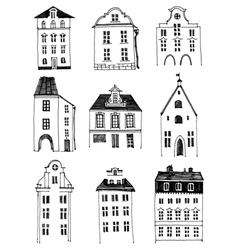 Hand drawn houses vector image