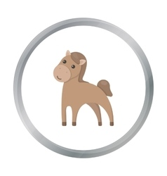 Horse cartoon icon for web and vector image