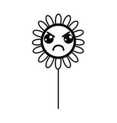 Line kawaii angry flower plant with leaves and vector
