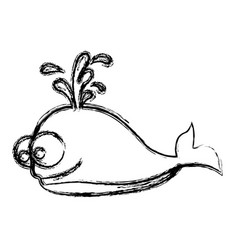 monochrome sketch of whale and water jet vector image