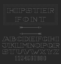 Monogram font thin line mockup hipster alphabet vector image