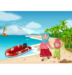 Muslim family on the beach vector
