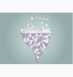 paper art style city for christmas with vector image