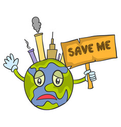 save world cartoon design vector image vector image