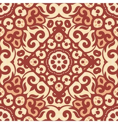 Seamless pattern with bright brown ornament tile vector