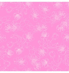 Seamless pattern with flowers of sakura vector