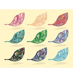 Set of line art with coloring of leaf and shadow vector image vector image