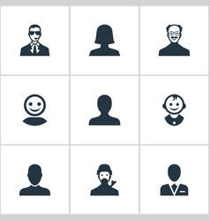 set of simple human icons vector image vector image