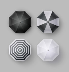 Set of striped blank round rain umbrella sunshade vector