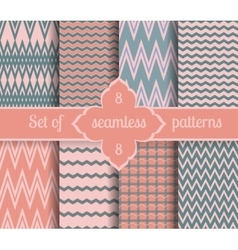 Set rose quartz and serenity geometric patterns vector