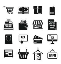 Shopping icons set simple style vector image