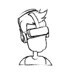 Sketch man wear vr goggles image vector
