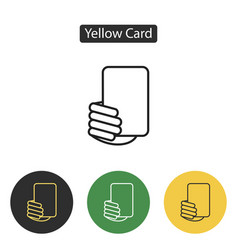 Soccer referees hand with yellow card vector