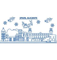 Spain alicante winter city skyline merry vector