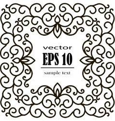 Square frame of floral pattern black on white vector