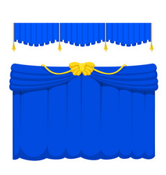 Theather scene blind blue curtain stage fabric vector