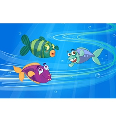 Three fishes with faces vector image