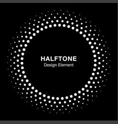 White halftone circle frame dots logo emblem vector