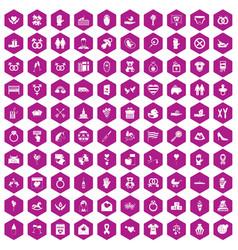100 love icons hexagon violet vector