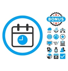 Date and time flat icon with bonus vector