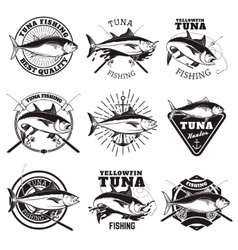 Tuna fishing labels isolated on white background vector image