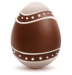 Brown easter egg decorated with white chocolate vector