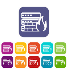 Database and firewall icons set vector