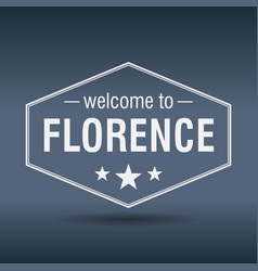 Welcome to florence hexagonal white vintage label vector