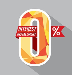 Zero percent interest installment vector