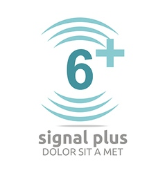 Logo signal number 6 plus blue figure wireless vector