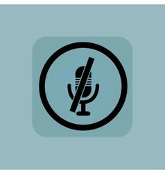 Pale blue muted microphone sign vector