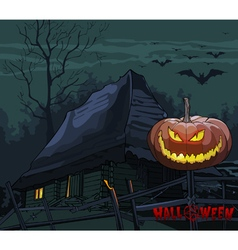 Old house with a pumpkin on a fence at night vector