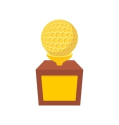 Golden trophy with golf ball cartoon icon vector