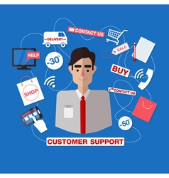Customer service call center man assistant vector
