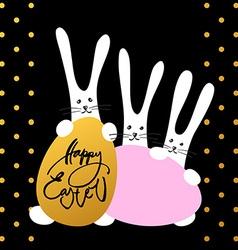 Three bunny happy easter vector
