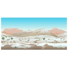 Natural desert landscape winter view vector