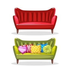 Sofa soft colorful homemade set 6 vector
