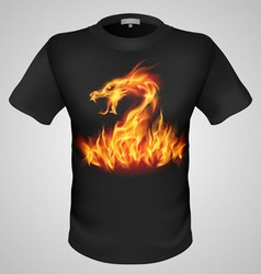 T shirts black fire print man 24 vector