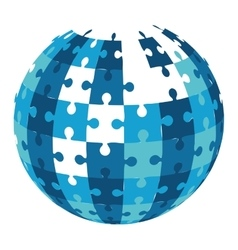 Ball in puzzle pieces icon vector