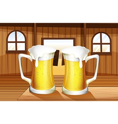 A table with two mugs of beer vector
