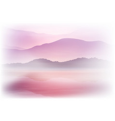 Background with sea and mountain sunset time vector
