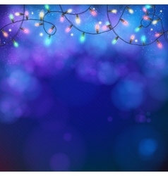 Blue party background with party lights and bokeh vector image
