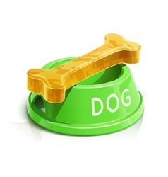 bowl with bone for dog vector image vector image