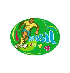 Brasil 2014 soccer football player run retro vector