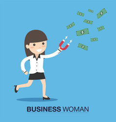 Business woman attracts money with a large magnet vector