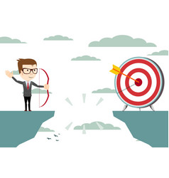 Businessman aiming target with bow and arrow vector