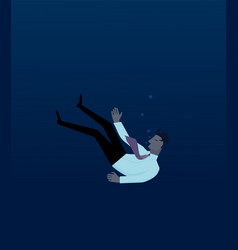 businessman drowning in deep water vector image vector image