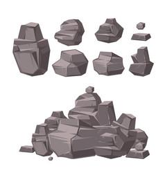 cartoon 3d rock granite stones stack of boulders vector image