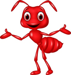 Cartoon red ant waving isolated on white backgroun vector